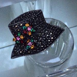 Whimsical Vintage Marcasite Sparkling Hat Brooch